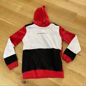 Criminal Damage Color Block Hoodie Red White Black